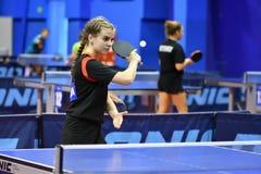 Orenburg, Russia - September 15, 2017 year: girl playing ping pong Stock Photos