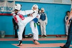 Orenburg, Russia - 23.04.2016: Taekwondo compete girls Royalty Free Stock Photography