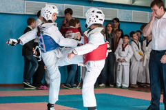Orenburg, Russia - 23.04.2016: Taekwondo compete girls Royalty Free Stock Photo