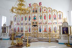 Orenburg, russisches Federation-2 Aprel 2019 Altar in der orthodoxen Kirche stockfotos