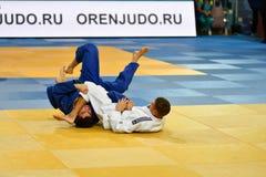 Orenburg, Russland - 21. Oktober 2016: Jungen konkurrieren im Judo Stockfoto