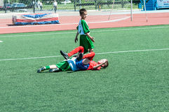 Orenburg Ryssland - 31 Maj 2015: Pojkelekfotbollen Royaltyfria Bilder