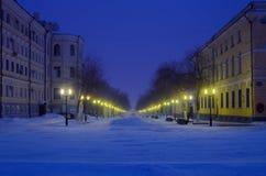 Orenburg, sera di inverno della via di Sovetskaya La Russia 05/02/2017 Immagini Stock