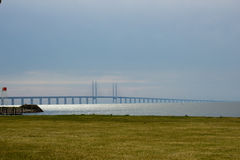 Orenund brigde connecting Malmo and Copenhagen. View from Swedish side Royalty Free Stock Photography