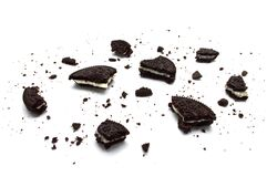 Oreo Biscuits With Crumbs Isolated On White Background. It Is A Chocolate Sandwich Cookies Filled With Sweet Cream Flavored. Stock Images