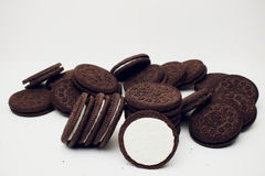 Oreo cookies. Oreo chocolate cookies stacked, served milk Royalty Free Stock Photo