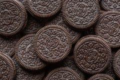 Oreo cookies close up.