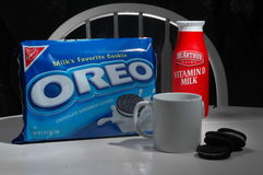 Oreo cookies and milk Stock Images