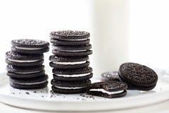 Oreo cookies. Stacked with milk Stock Photos