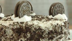 Oreo crape cake recipe. Oreo crape cake with exotic fruits in the home kitchen closeup stock video