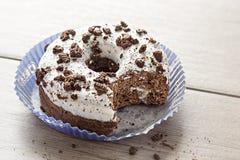 Oreo doughnut. On white background royalty free stock photography