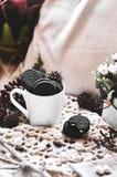 Oreos. Mug with Oreos cookies super chocolate royalty free stock photography