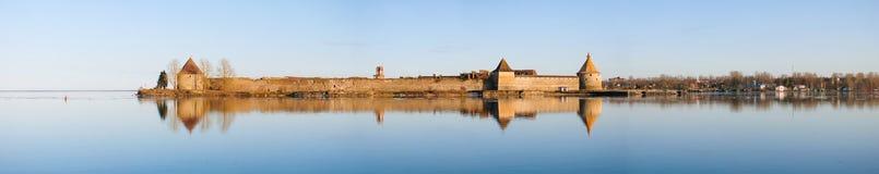 Oreshek堡垒,在1323年建立了 免版税库存照片