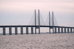 Oresund Bridge. From the swedish side over to Denmark Royalty Free Stock Images
