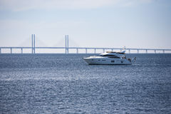 Oresund Bridge with boat Stock Photos