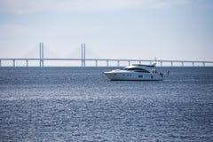 Oresund Bridge with boat. Boat with Oresund Bridge in background Stock Photos