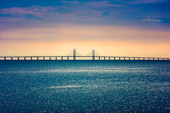 Oresund Bridge connecting Copenhagen Denmark and Malmo Sweden. Oresund Bridge crossing the Oresund Strait, connecting Copenhagen Denmark and Malmo Sweden Stock Photos