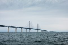 The oresund bridge between denmark and sweden Royalty Free Stock Photo