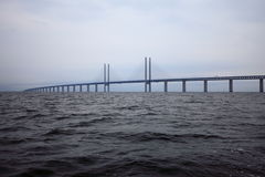The Oresund  bridge between Denmark and Sweden Stock Photography