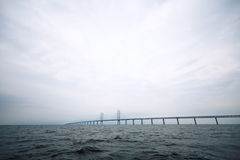 The Oresund  bridge between Denmark and Sweden Royalty Free Stock Images