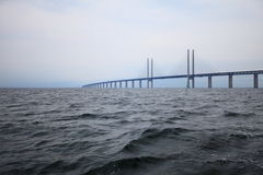 The Oresund  bridge between Denmark and Sweden Stock Image