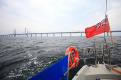 The Oresund  bridge between Denmark and Sweden Stock Photo