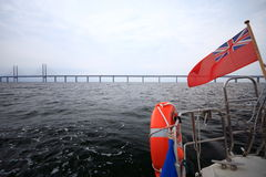 The Oresund  bridge between Denmark and Sweden Stock Images