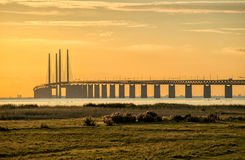 Oresund Bridge at dusk Royalty Free Stock Photography