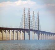 Oresund Bridge. Malmo, Sweden-April 29, 2018: Oresund Bridge,  Lernacken, Limhamn-Bunkeflo beach  where the bridge starts in Sweden Royalty Free Stock Photography