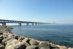 Oresund Bridge. Malmo, Sweden-April 29, 2018: Oresund Bridge,  Lernacken, Limhamn-Bunkeflo beach  where the bridge starts in Sweden Royalty Free Stock Image