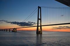 Oresund bridge. Passage below oresund bridge in Danish bay Stock Photography