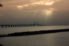 Oresund Bridge on sunset, Sweden, Malmo. Oresund Bridge on sunset, between Sweden and Denmark, Malmo Stock Photography