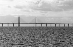 Oresund bridge between Sweden and Denmark. Malmo, Sweden March 07,2017. Malmo, Sweden March 07,2017. The bridge to the continent between Malmo Sweden and Royalty Free Stock Photo