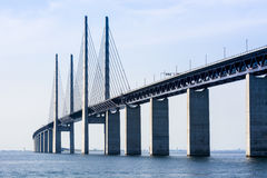 Oresund bridge, Sweden. The Oresund bridge links Sweden and Denmark. The bridge is a combined twin-track railway and dual carriageway bridge-tunnel across the Ø Royalty Free Stock Photos