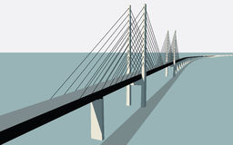 Oresund Bridge Vector. Oresund Bridge between Sweden and Denmark Vector Illustration Royalty Free Stock Photography