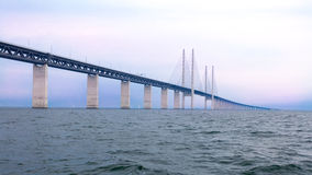 ORESUND, SWEDEN - AUGUST 8 : Oresund bridge on August 8, 2013, Sweden Stock Photo