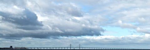 Bridge - Sweden Denmark. Oresunds Bridge connecting Sweden and Denmark Stock Photo