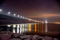 Oresunds bridge night royalty free stock photo