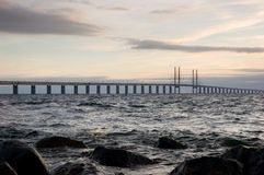 Oresunds bridge at sunset. From the swedish side over to Denmark Stock Images