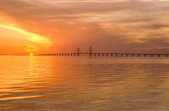 Oresunds bridge at sunset. From the swedish side over to Denmark Stock Image