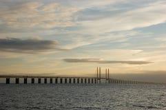 Oresunds bridge at sunset Stock Photography