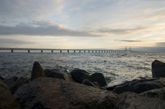 Oresunds bridge at sunset. From the swedish side over to Denmark Royalty Free Stock Image