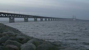 Oresundsbron, the bridge between Sweden and Denmark stock footage