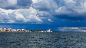 Oresundsbron. Oresund bridge link Denmark Sweden Baltic Sea. Oresundsbron. The Oresund bridge link between Denmark and Sweden in Europe, Baltic Sea. Stormy sky Stock Image