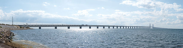 Oresundsbron panorama 01. A panoramic image of the 'oresundsbron' the bridge that connects Sweden with Denmark and one of the longest of its kind in the world Royalty Free Stock Photo