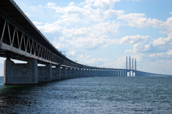 Oresundsbron from right side. An image of the 'oresundsbron' the bridge that connects Sweden with Denmark and one of the longest of its kind in the world Stock Photo