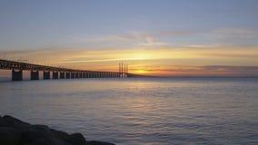Oresundsbron at sunset. stock footage