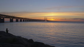 Oresundsbron at sunset. The bridge between Sweden and Denmark. Cars drive over the bridge and underneath the bridge goes a train. A fisherman stands fishing stock footage