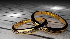 Orever δικοί σας - τα χρυσά γαμήλια δαχτυλίδια ένωσαν μαζί για πάντα με χαραγμένος και να φορέσουν γάντια λέξεις ελεύθερη απεικόνιση δικαιώματος