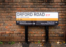 Orford发现路牌Waltham森林,伦敦的路线 免版税库存图片